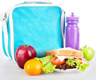 School lunch bag with school lunch