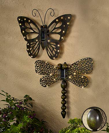 Solar outdoor wall decor the lakeside collection for Outdoor butterfly decor