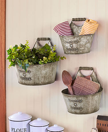 Country Living Wall Bucket Set