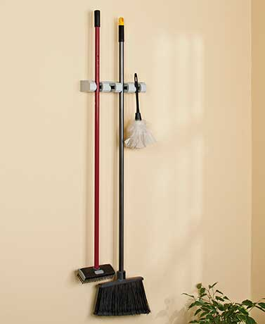 4-Slot Mop & Broom Wall Organizer