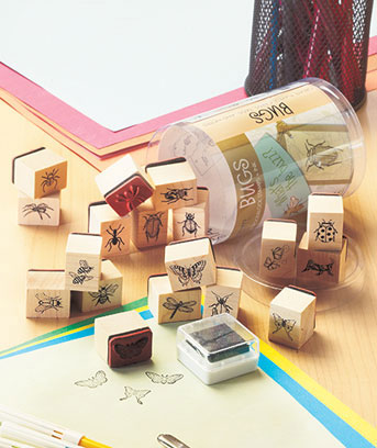 19-Pc. Woodblock Stamp & Ink Sets