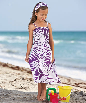 Girls' Palm Print Dress and Headband Sets
