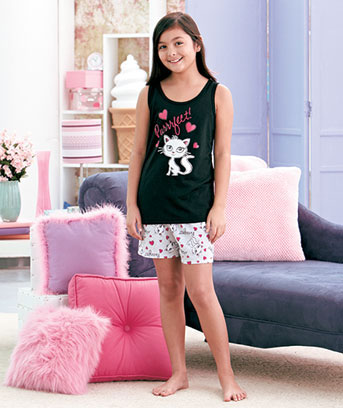 Girls' Fashion Shorts and Tank Pajama Sets