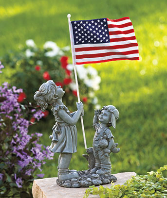 Patriotic Kids with Flag Statue