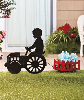 Silhouette with Wagon Planter