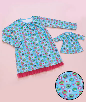 Frog Dots Matching Girl & Doll Nightgown Set