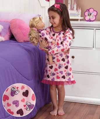 Kitty Hearts Matching Girl & Doll Nightgown Set