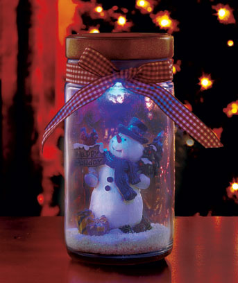 Color-Changing Holiday Scene in a Glass Jar