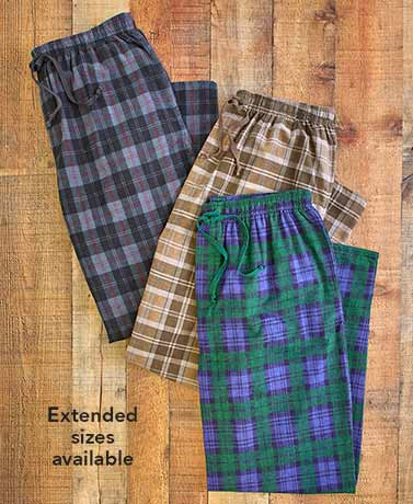 Men's Set of 3 Plaid Flannel Pants