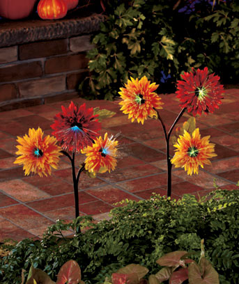 Set of 2 Solar Harvest Floral Stakes