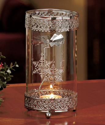 Snowflake Metal Spinning Snowflake Tea Light Holder
