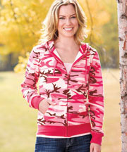 Women's Fleece Zip-Front Hoodie - Pink Camo L 14/16