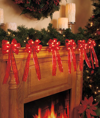 Lighted Bow Garlands