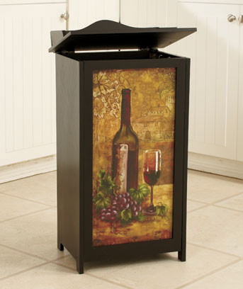 Wine Wooden Trash Bin