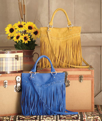 Faux-Suede Fringe Totes