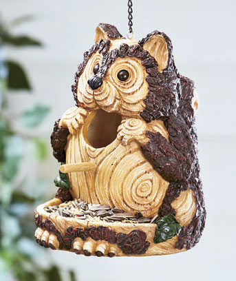 Carved Wood-Look Birdhouse and Feeder