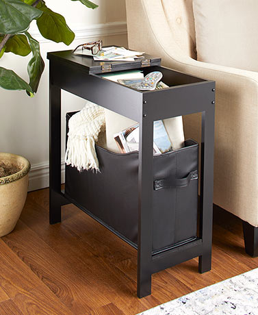 Black Side Storage Table with Bin