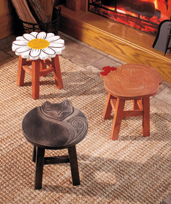 Decorative Hand-Carved Stools