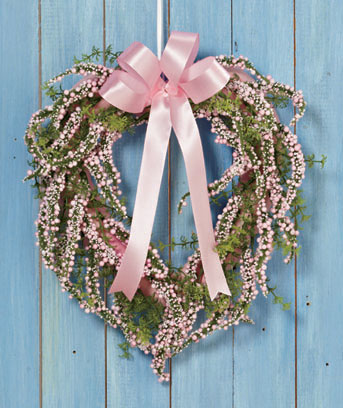 Pink Spring Heart Wreath