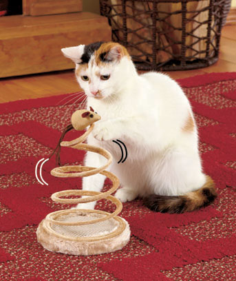 Springy Spiral Cat Toy with Mouse