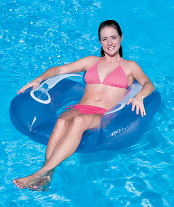 Flip Pillow Pool Lounger with Cup Holder