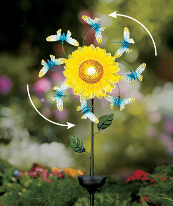 Solar Floral Windspinner Stakes