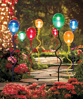 Sets of 2 Solar-Lighted Balloon Stakes