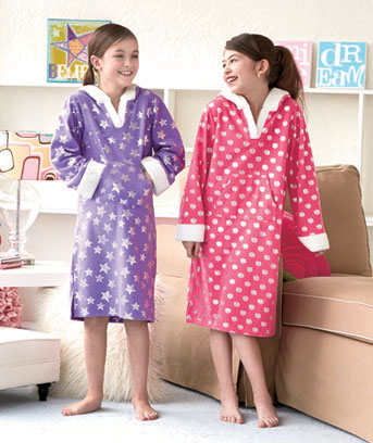 Girls' Fleece Nightgown with Hood