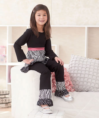 2-Pc. Girls' Zebra and Dot Pant Set