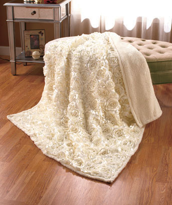 3-D Rosette Sherpa Throws