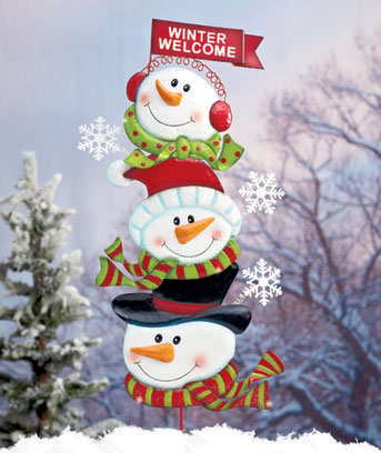 Snowmen Holiday Yard Stake