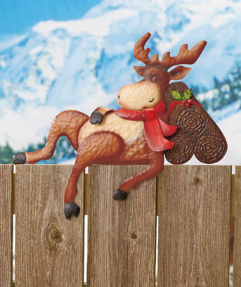 Moose Holiday Fence Topper