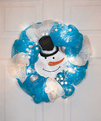 "Snowman 16"" Lighted Geo Mesh Holiday Wreath"
