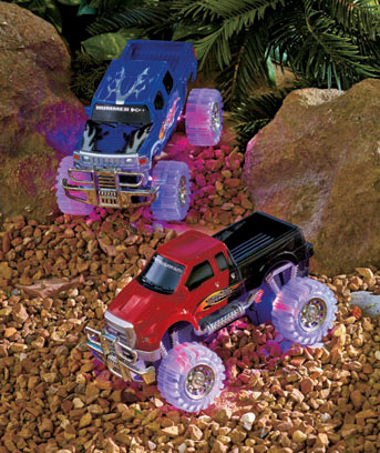 2-Pk. 1:20-Scale Trucks with Light-Up Wheels