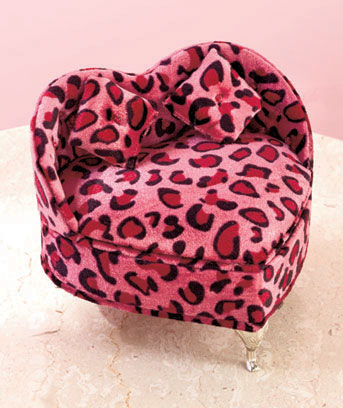 Pink Leopard Print Heart Jewelry Boxes
