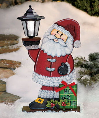 Solar Lighted Holiday Santa