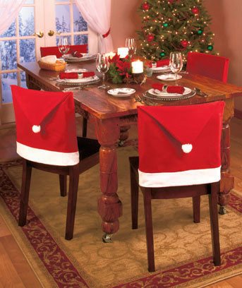 Set of 4 Santa Hat Chair Back Covers