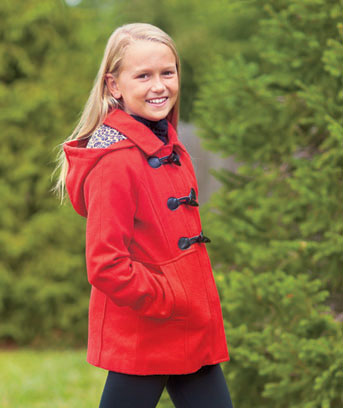 Girls' Hooded Toggle-Front Peacoats