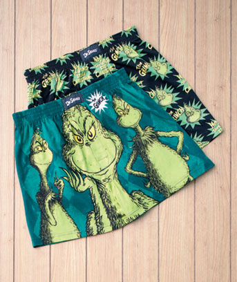 Men's Grinch Licensed 2-Pk. Boxers