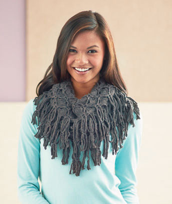 Endless Loop Scarf with Fringe Trim