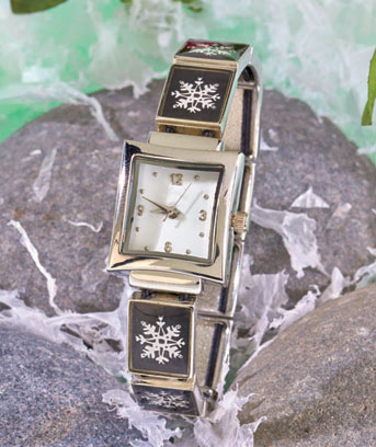 Snowflake Holiday Stretch Charm Watch