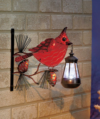 Fused Glass Cardinal Solar Lantern