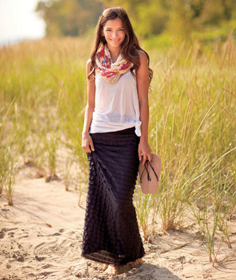 Women's Black Knit Ruffle Maxi Skirt