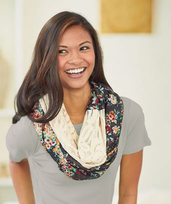 Floral Lace & Woven Infinity Loop Scarf