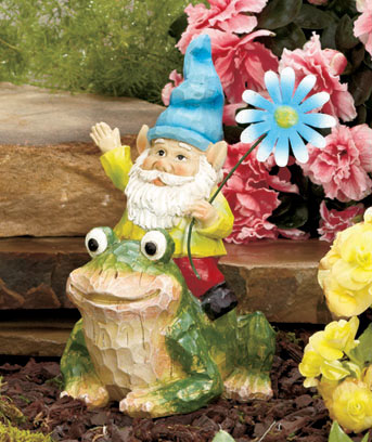 Frog Gnome on Garden Figure