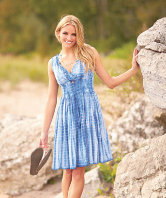 Women's Blue Tie Dye Smocked Waist Dress