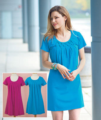Women's Sets of 2 Pleated Neck Dresses