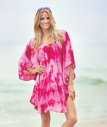 Embellished Tie-Dye Poncho Cover-Ups
