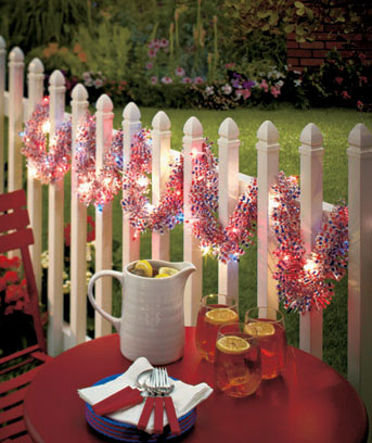 Patriotic 9-Ft. Lighted Holiday Garland