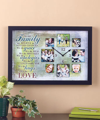 Family Sentiment Photo Collage Clock